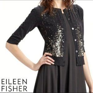 Eileen Fisher Cardigan Cotton Cashmere Sequins 1X